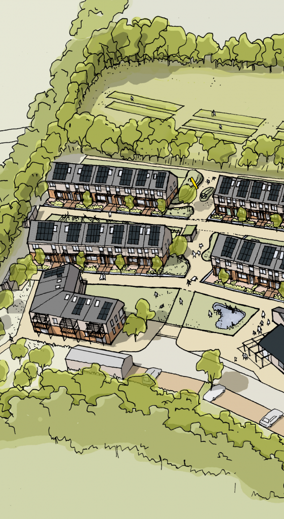 Architects' sketch of houses at Hazelmead